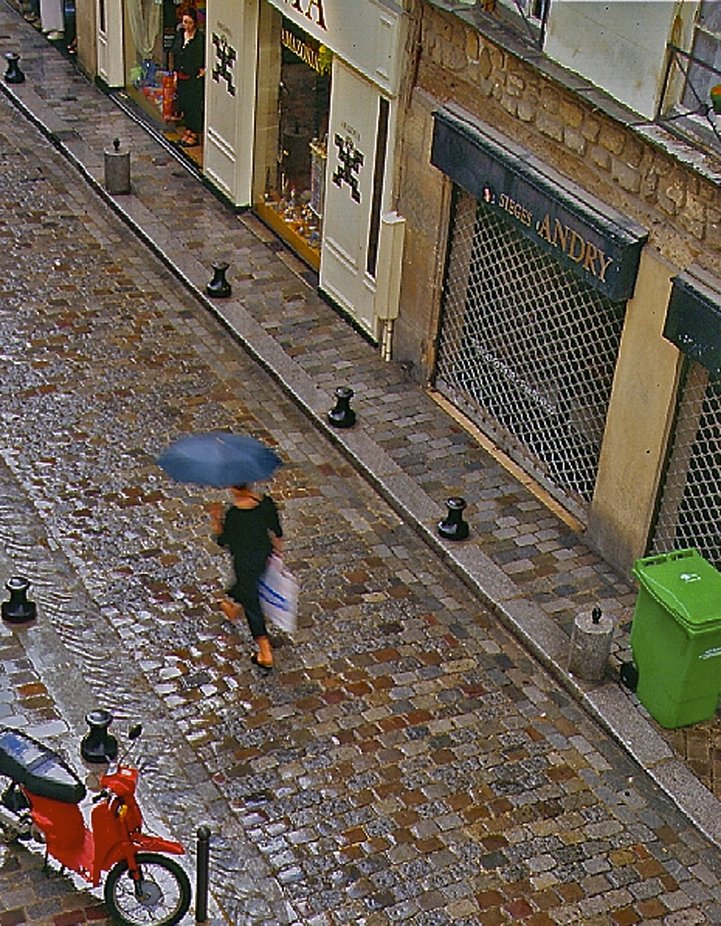 This scanned 35 mm slide image was taken out my hotel window on rue de Lappe in Paris. The lone shopper and wet cobble stones are brightened up by the red bike and green trash barrel.