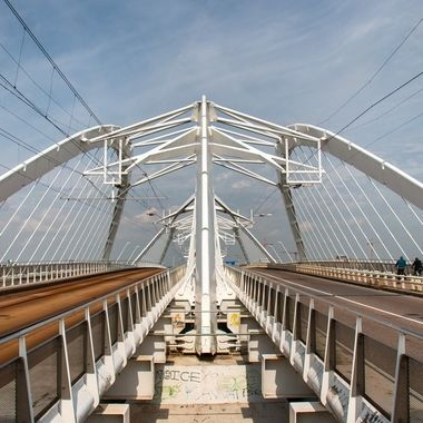Enneus Heerma bridge, IJburg, Amsterdam, with a part for vehicles and a part for trams