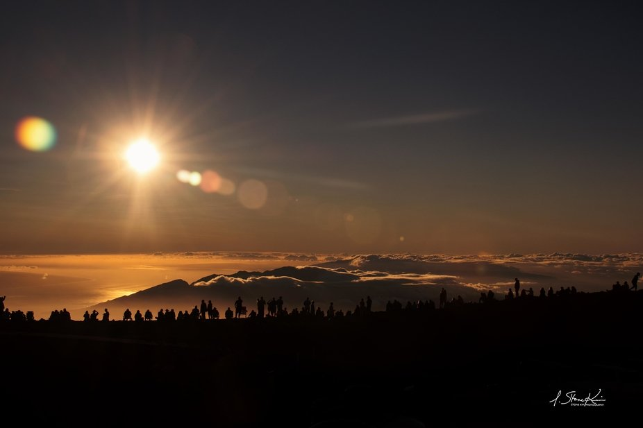 Silhouette Gathering for Sunset at the Summit of Mt. Haleakala in Maui, Hawaii