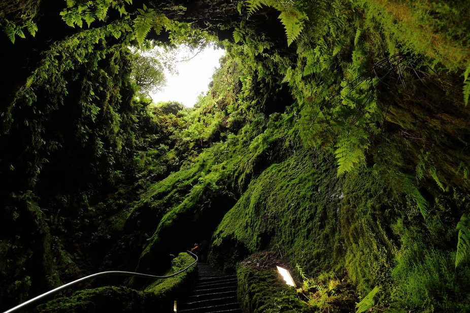 Main entrance from the Cavern as seen from inside the cave.  (ancient lava tube or volcanic vent)