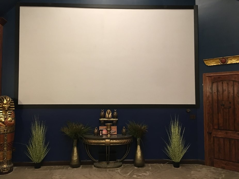 This is the front of a home theater room