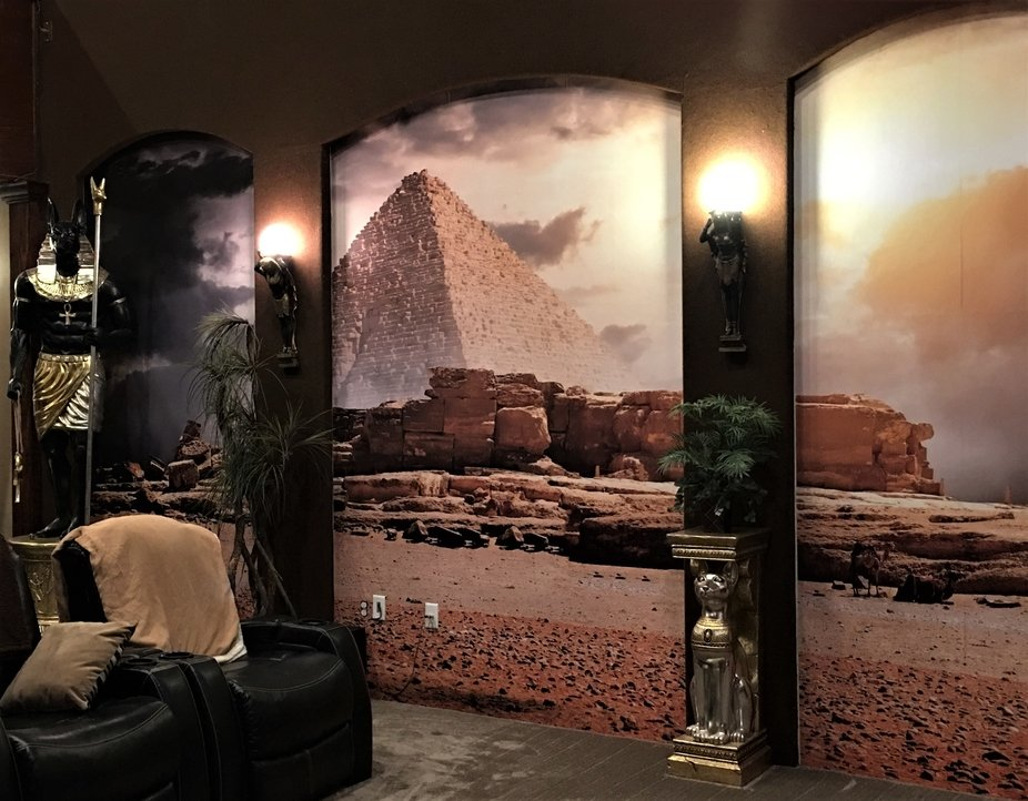 This is the left wall of Egyptian Themed movie room