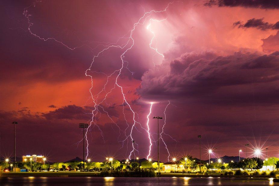 Lightning strikes just behind Maricopa, Arizona during the 2019 Arizona Monsoon.