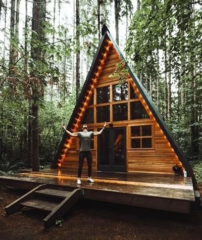 praying at the cabin
