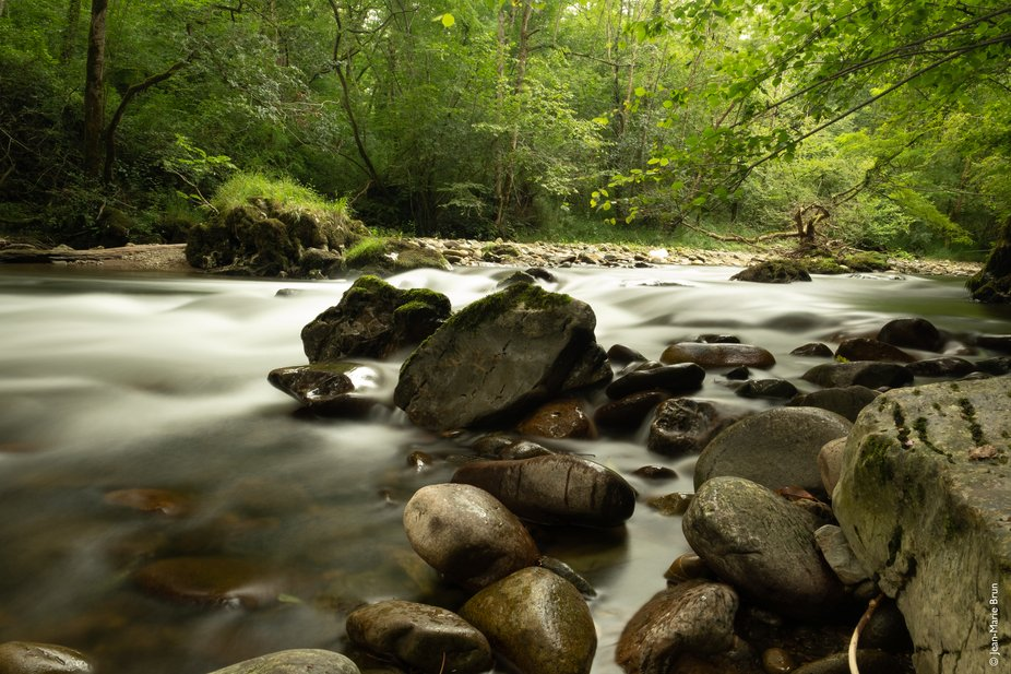 """A long exposure of """"Le Laurhibar"""", a river of the Frecnh Pays Basque nearby Sai..."""