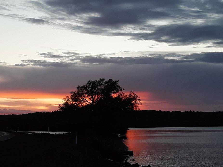 Gorgeous sunset over Lake Superiors Keweenaw Bay