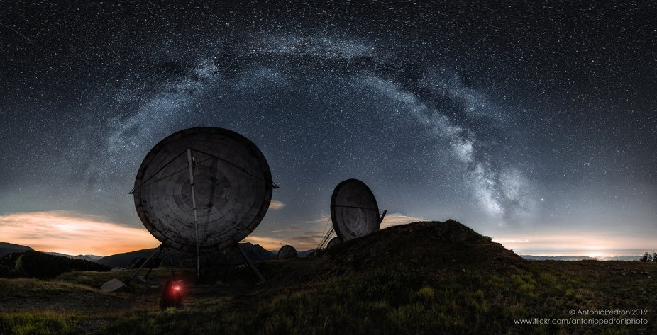 "pano of the milky way over the former Nato base of the ""monte Giogo"", near Coma..."