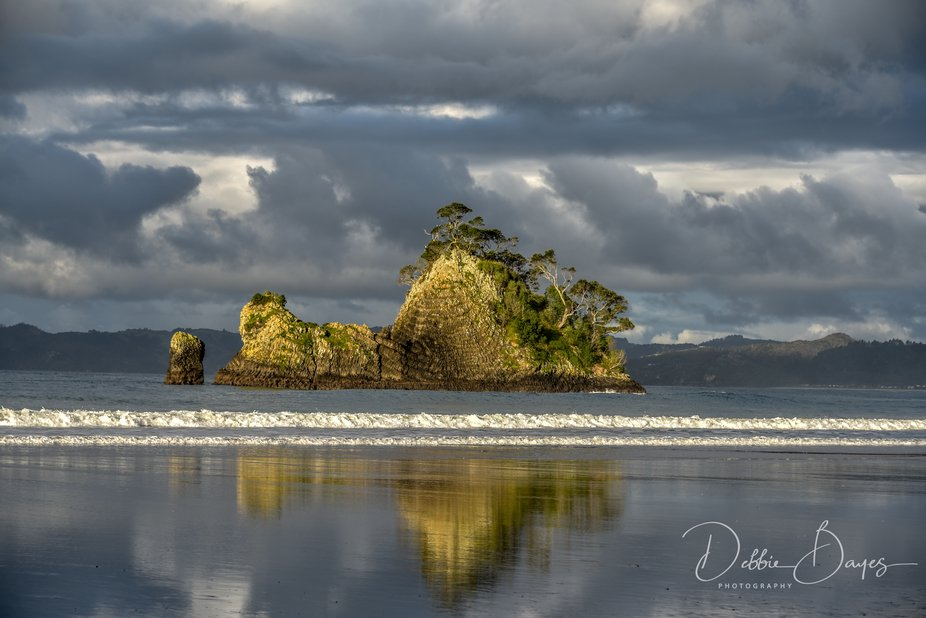 On the Coromandel Penninsula in New Zealand this beautiful beach shines in all its glory.