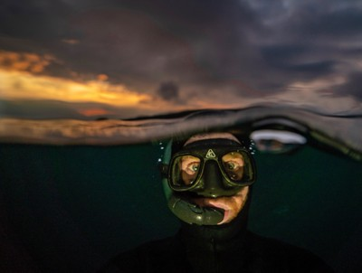 Sunset snorkel selfie