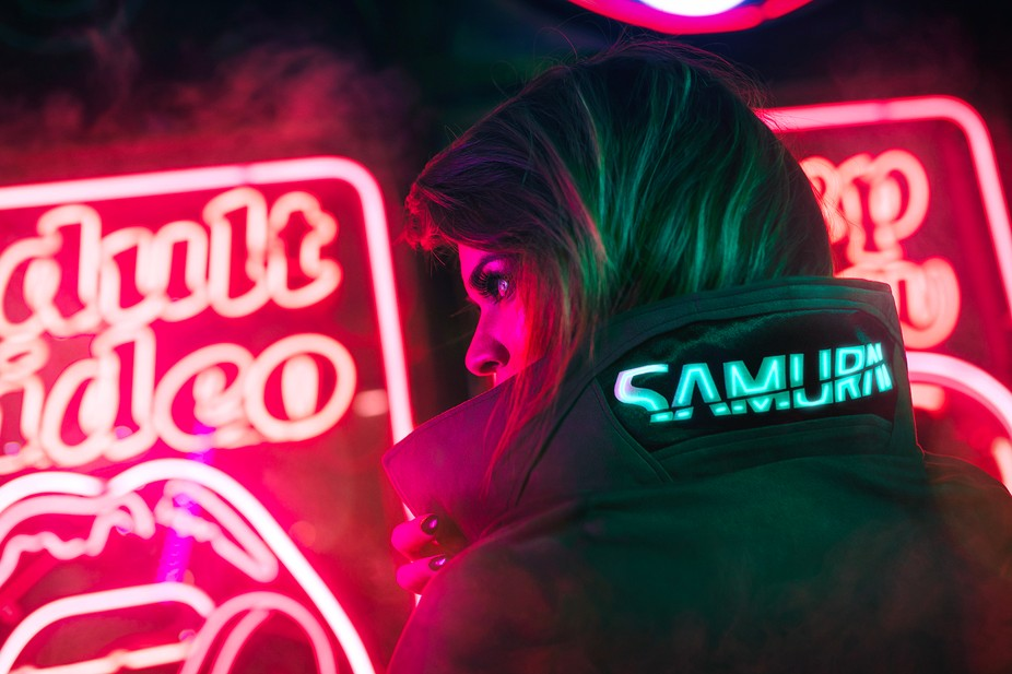 Had a nice neon shoot with the PR manager of CDProjekt Red in a casual Cyberpunk 2077 style.    A...