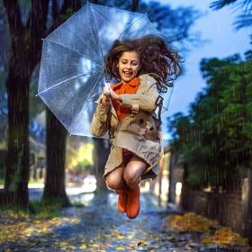 Let's jump and face the wind and the rain! Let´s jump over the fallen leaves! It´s a funny and joyful way to welcome the autumn time.