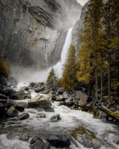 At the base of Yosemity Falls