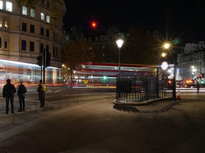 Trafalgar Square at Charing Cross tube station entrance