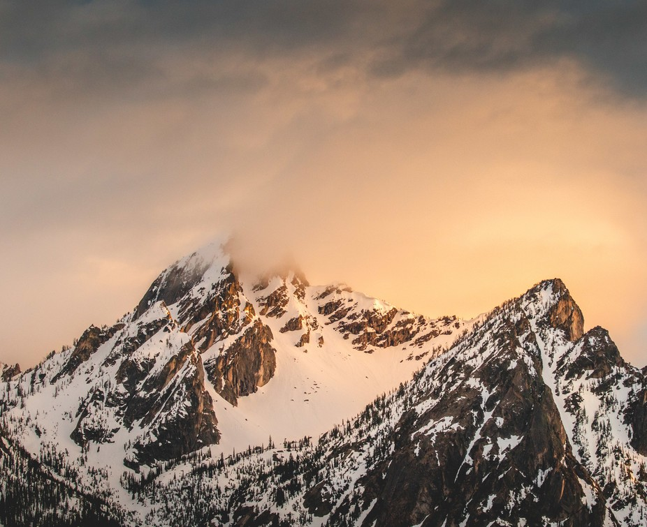 McGowan Peak in the Sawtooths right as a storm came in a killed the light.