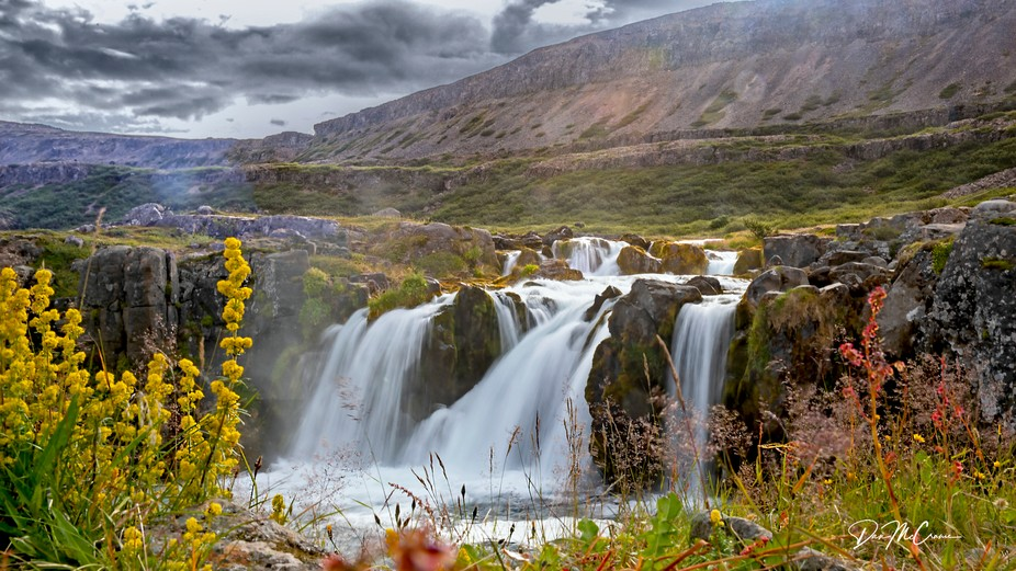 Waterfall near Dynjandi Falls, Westfjord area, Northwest Iceland