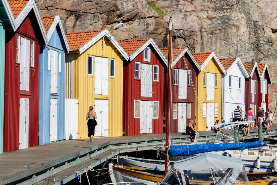 Some fishing cottages along the famous Smogen jetty at the west coast of Sweden