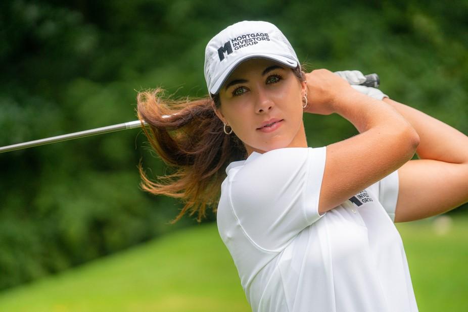 """Beat the Pro"", LPGA Pro, Sophia Schubert, at the 13th hole of Gettysvue, Polo,..."