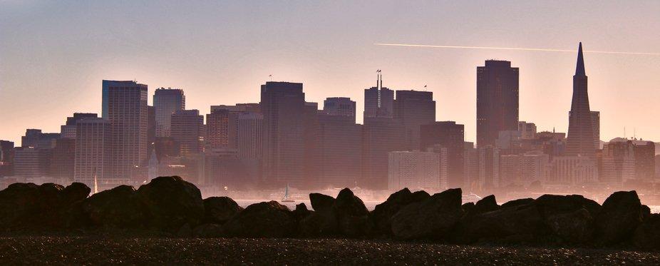 The San Francisco skyline taken from Treasure Island in the San Francisco Bay