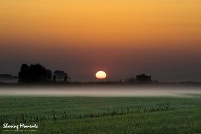 Sunrise over the misty fields