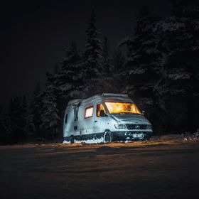 Winter vanlife, enjoying the peace and quiet in the wilderness of central Sweden, Winter 2018.