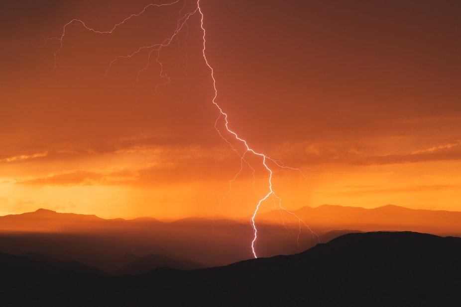 Lightning captured from the Sunset Point rest area in central Arizona.    The layers of the Brads...