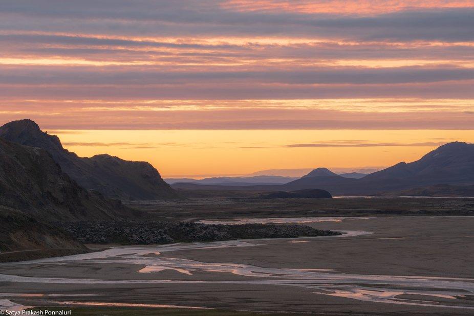 Sunset over Landmannalaugar