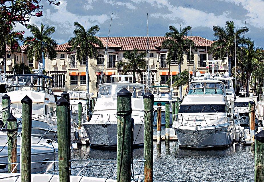 A lovely marina in Palm Beach County, Florida.
