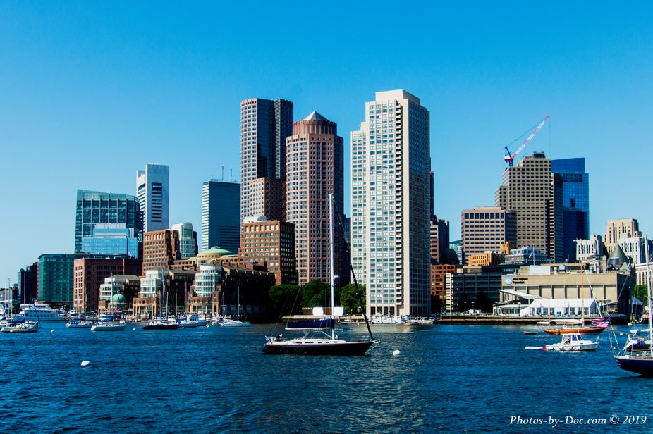A view of Boston from a ferry on Boston Harbor