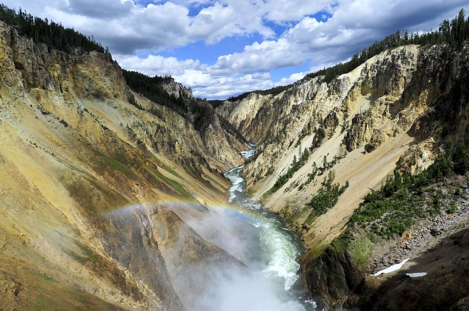 I captured this beautiful rainbow in the Grand Canyon of Yellowstone National Park. Camera: Nikon...