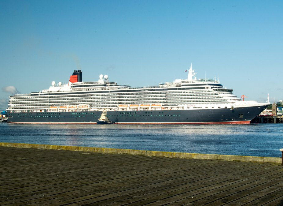 MV Queen Victoria at berth at Newcastle cruise terminal North Shields UK.