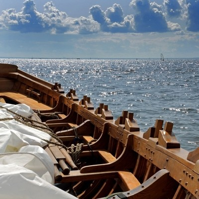 View from the Northern shore of the Neva Bay, the Gulf of Finland. Saint-Petersburg. Park 300th anniversary of St. Petersburg. Photo 02.