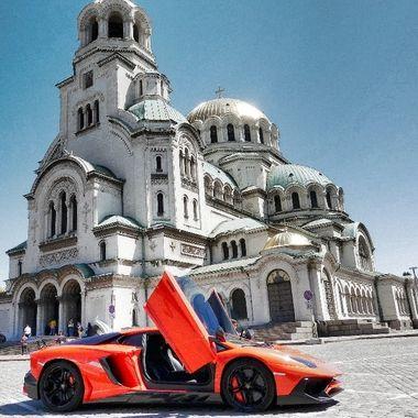Alexander Nevsky Cathedral Sofia, Bulgaria  and a Lamborgini Aventador