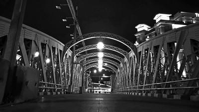 Anderson Bridge at Night (BW)