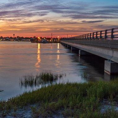 Sun setting on Swansboro North Carolina