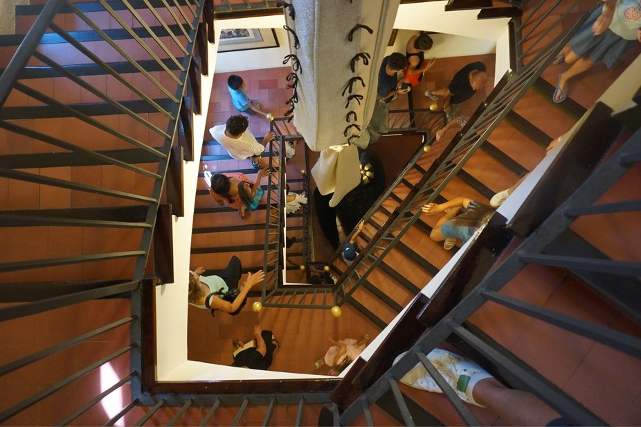 In the Dali museum in Figueres, walking to another Floor, looking down looked like a painting.