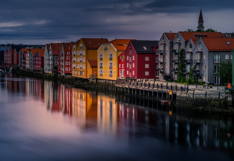 The river Nidelven in Trondheim city