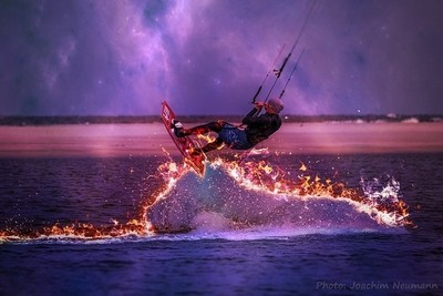 Surfing on fire waves.