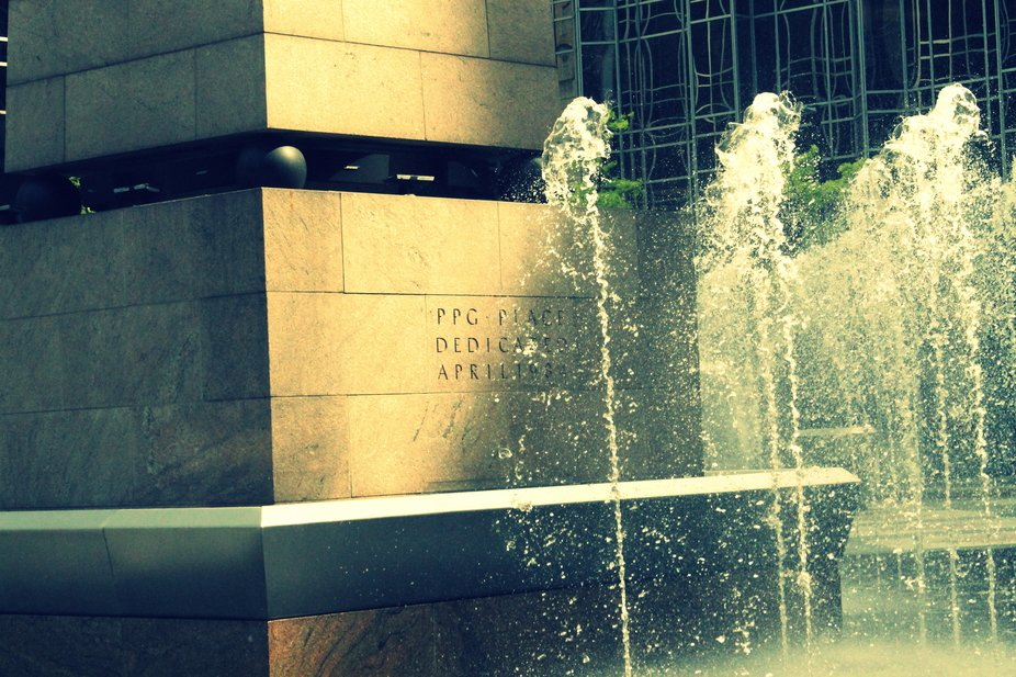 A summer afternoon frozen in time - The fountain at PPG Place in Downtown Pittsburgh