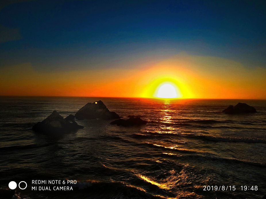 shot from the historical cliff hous.e sunset, Pacific ocean