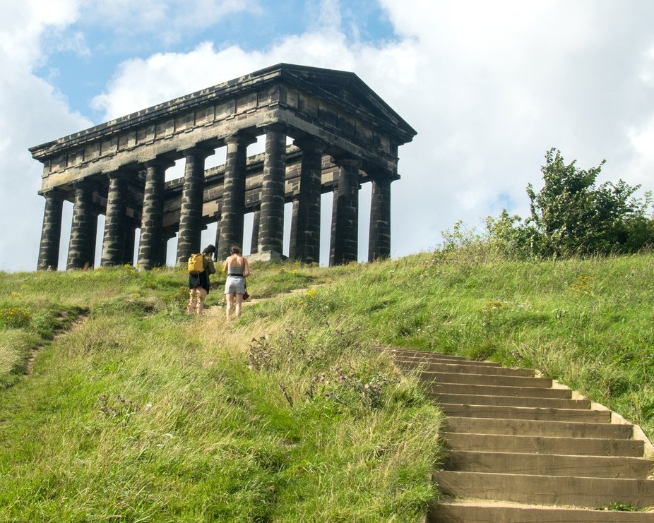 Penshaw Monument taken from over halfway up the steps.