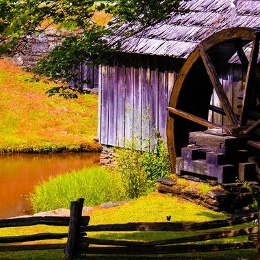 This is the Mabry Mill. It is part of my family history. It is a fully operational Corn Meal and Wood Mill. Its beautiful and is operated by the volume of water flow. Its beautiful. Built in the middle 1800's.