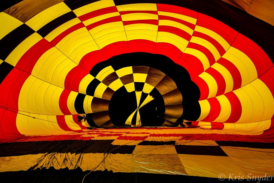 Inflating a hot air balloon at the Staunton Illinois 4th Annual Balloon Glow