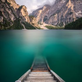 Very long exposure at Pragser Wildsee in South Tyrol, Italy