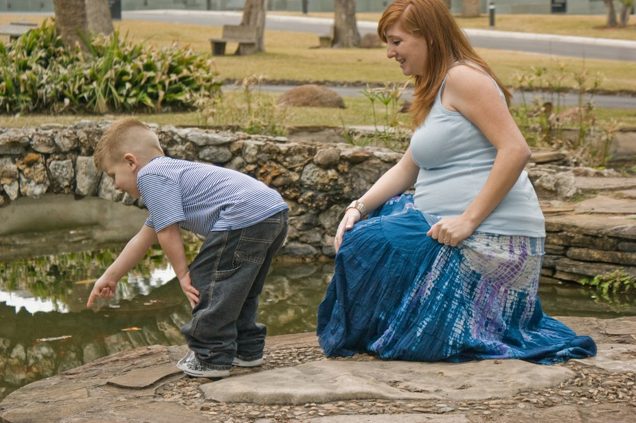 Part of a maternity shoot shot on location at the McNay Museum of Art in San Antonio Texas.  Hubb...