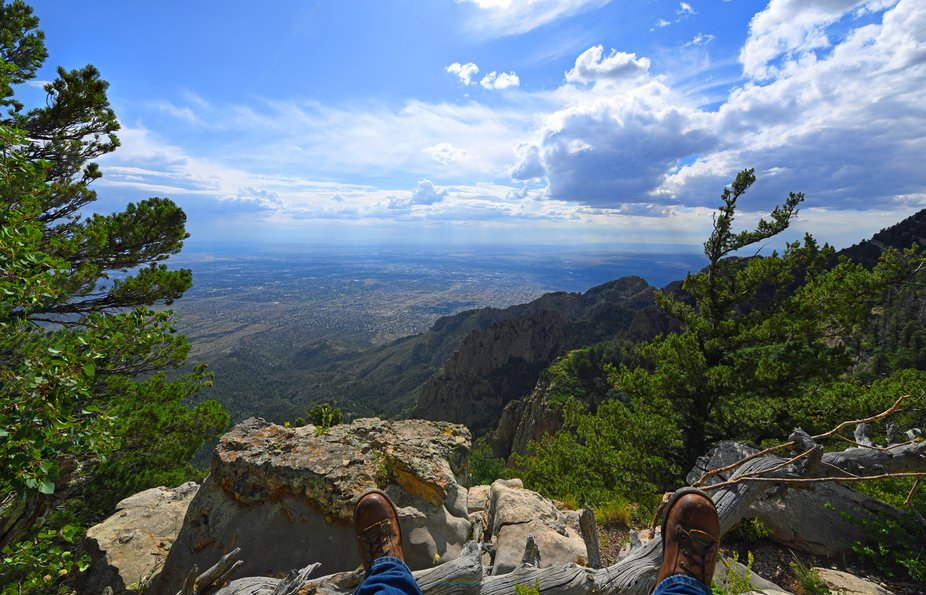 Sandia Crest looking west over Albuquerque on a warm summer day. On a clear day from here, when l...