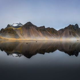 Reflections at Vestrahorn, Iceland. Captured in autumn as a Pano - cropped to 2:3
