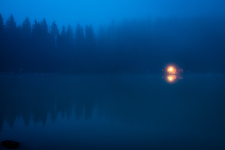 Lake Louise is usually known for the stunning turquoise color. However, arriving before sunrise p...