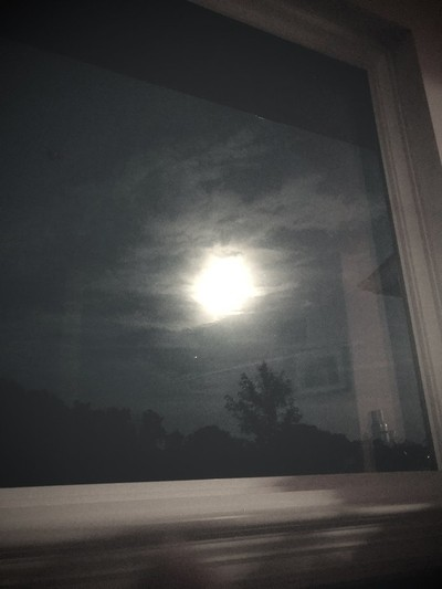 Full moon view from bathroom bath