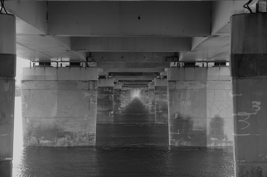 This photo was taken under the Tay Road Bridge, Dundee, Scotland.