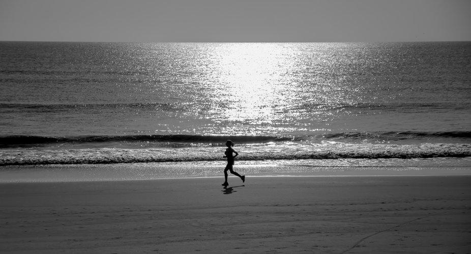 morning jog at flagler beach